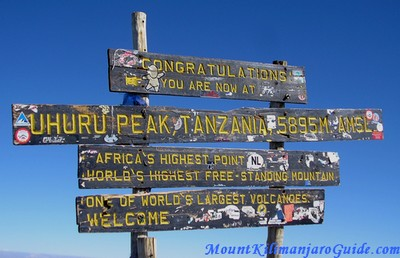 Still the official height of Mt. Kilimanjaro, 5895 m