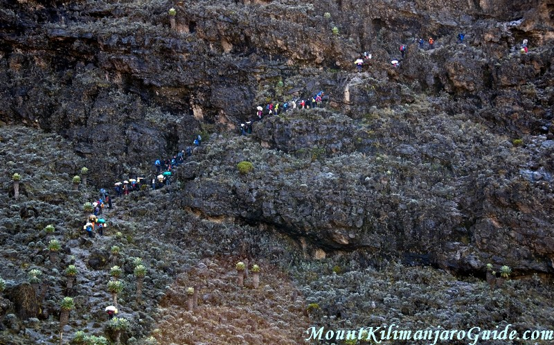 Climbers and porters on the Barranco Wall