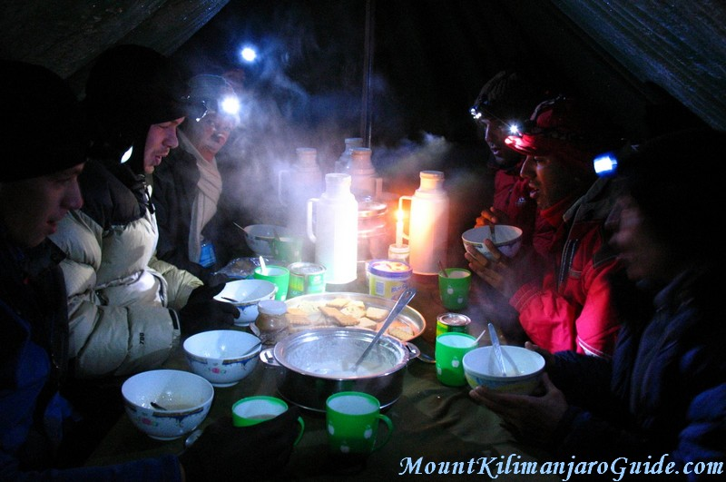 Breakfast on Klimanjaro Summit Day