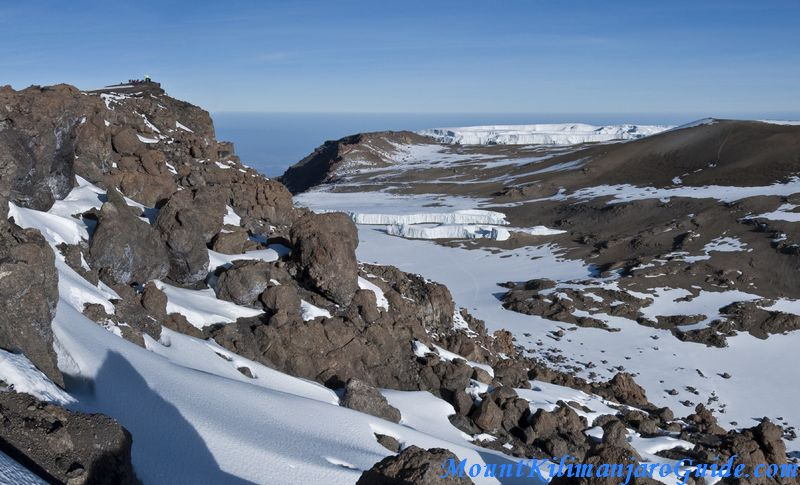Uhuru Peak, the summit of Kilimanjaro and the crater floor