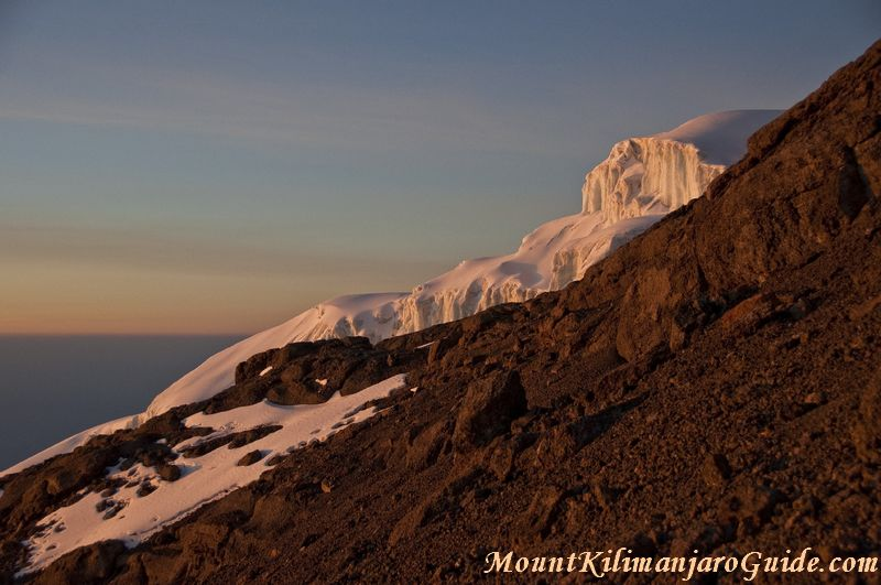 Kilimanjaro glacier at dawn