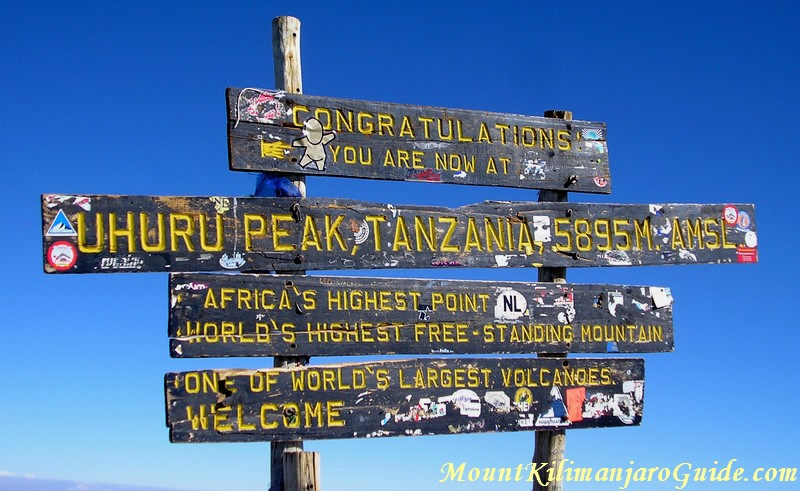 Official height of Mt. Kilimanjaro, 5895 m
