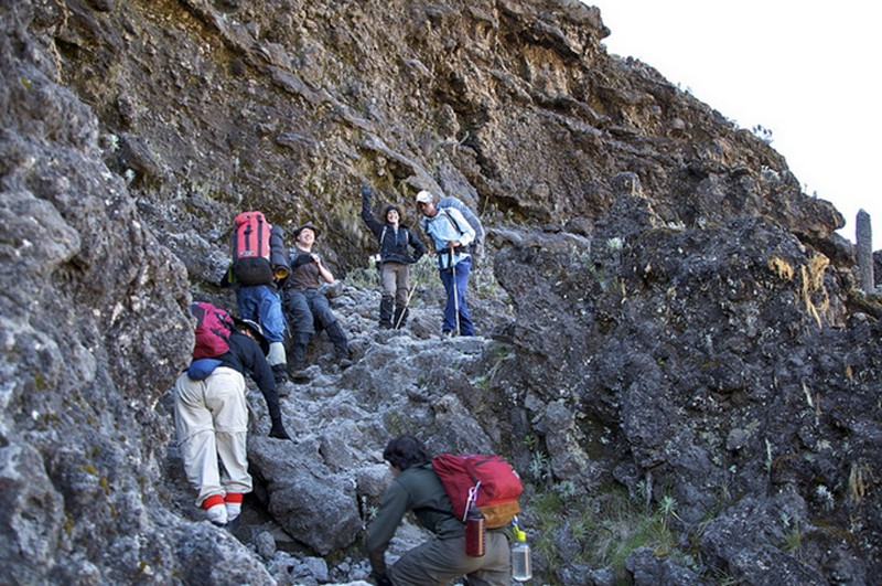 Scrambling up the Barranco Wall