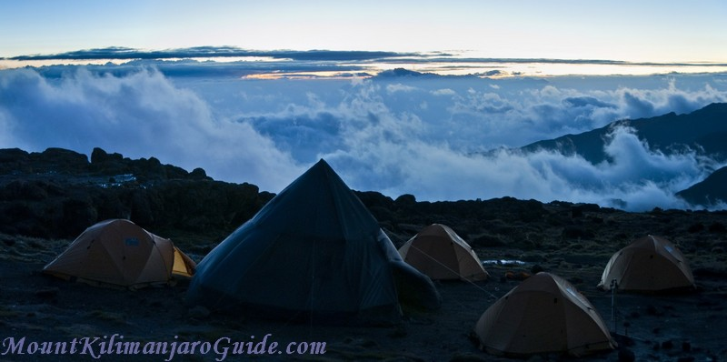 After sunset, the end of day 2 on Machame, Shira Camp