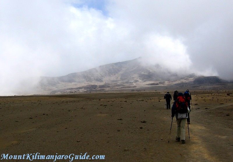 Kilimanjaro climbers making their way across the saddle