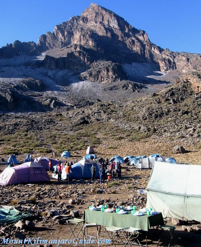 Breakfast table beneath Mawenzi peak