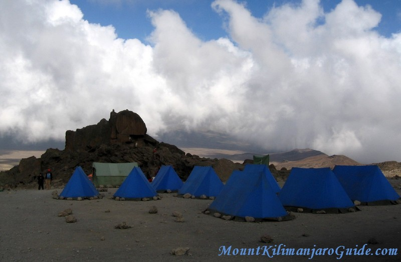The last camp of a Kilimanjaro trek