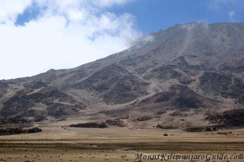 The Kilimanjaro summit path behind Kibo Huts