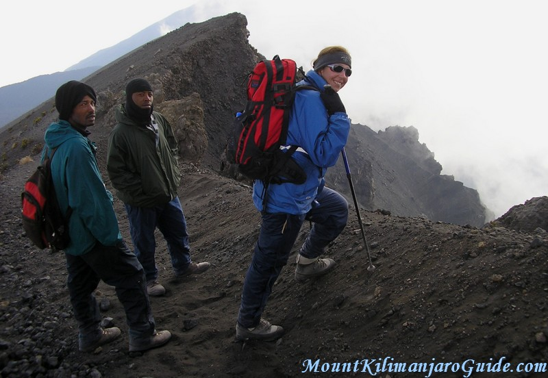 The knife edge crater rim of Mount Meru